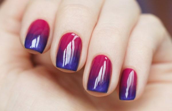Как сделать на гель лаке переход цветов