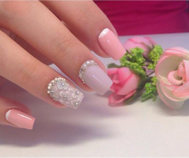 идеи свадебного маникюра: фото ногтей с цветами