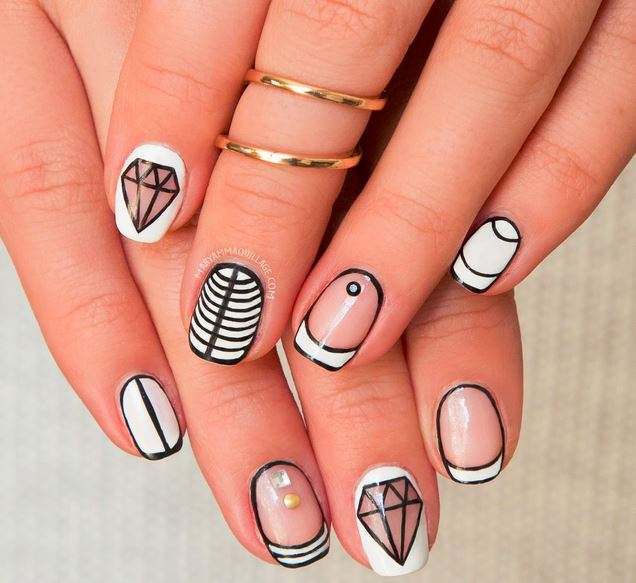 оригинальный маникюр свадебный на короткие ногти фото