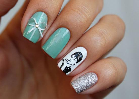 маникюр свадебный на короткие ногти фото в стиле тиффани