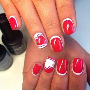 Красный френч на ногтях - со стразами, с рисунком, идеи дизайна ...