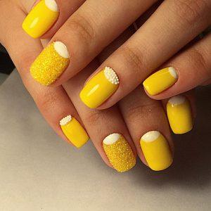 Дизайн ногтей с желтым цветом фото