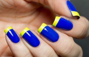 Дизайн ногтей жёлтый с синим