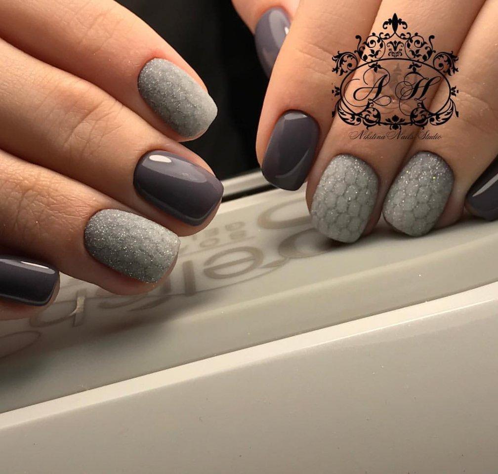Серый маникюр - 100 фото маникюра серого цвета 813