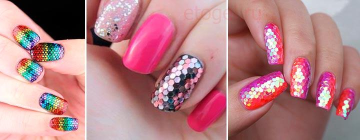 дизайн ногтей с конфетти фото