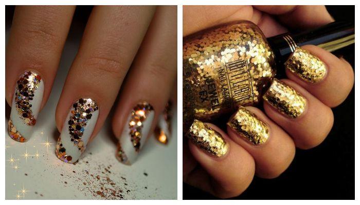Дизайн ногтей блестки